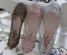 Flats Women Jelly Glitter Shoes Hollow Out Slip On Sandals Size Comfy Leisure