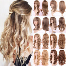 Women Lady Long Hair With Blonde Full Wig Curly Straight Synthetic Hair Costume