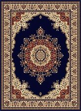 Navy Traditional Oriental Area Rug Medallion Floral Red Ivory Persian Carpet