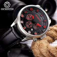 Mens watch leather band date superior quality big dial diameter water resistant