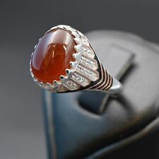 Men's Greek Fashion 925 Sterling Silver Ring CZ Old Land Stone, Rhodium Plated
