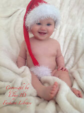 0-6 months Christmas Elf Hat Baby boy Girl hat Photo Prop handmade crochet pom