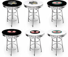 FC18 HOME MOVIE THEATER POPCORN THEMED WHITE or BLACK TOP CHROME METAL BAR TABLE