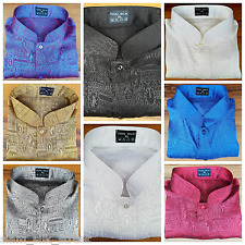 Mens Jacquard Weave Mandarin Collar Thai Silk Shirts: Medium - XXXL Short Sleeve