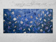 Oil Painting Abstract Modern Contemporary Home Decor Art on Canvas Blue Blossom