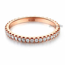 14K Rose Gold Stackable Wedding Band Ring Eternity 0.42 Ct Natural Diamonds