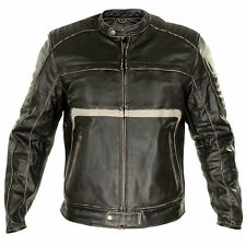 Xelement BXU1771 Mens Armored Dark Brown Leather Motorcycle Jacket Beige Stripes