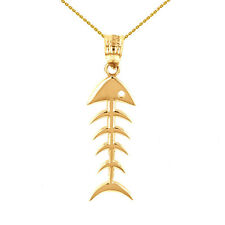 14k Yellow Gold Fish Bone Skeleton Fishing Pendant Necklace