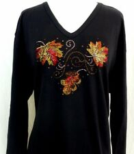 PLUS 2X Hand Embellished Neckline Rhinestone & Stud Autumn Leaves Long Top Shirt