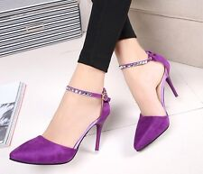 Pumps Thin Heels Suede Crystal Cutouts Stiletto Purple Buckle High Heel Shoes