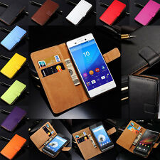 Luxury Genuine Real Leather Flip Case Wallet Stand Cover For Sony Xperia Z4 Z5