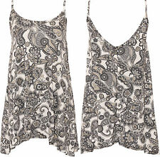 New Womens Plus Stretch Paisley Strappy Sleeveless Vest Ladies Cami Top 14-28