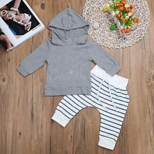 2PC Toddler Baby Kids Boys Clothes Set Outfit Hooded Top+ Striped Pants Clothing