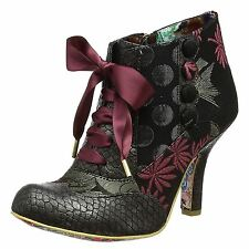 Irregular Choice Blair Elfglow Red Silver Womens Ankle High Heel Boots Booties