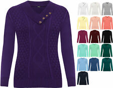 Plus Womens Long Sleeve Sweater Top Cable Knitted V-Neck Ladies Button Jumper