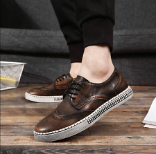 Mens New Brogue Carved Wing Tips Lace Up Fashion Sneakers Causal Shoes Fashion