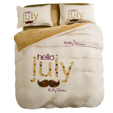 "Simple Plain White Moustache ""Hello July"" Print Cosy Woolly Winter Cosy Bed Set"