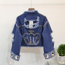 Womens Denim Loose Bomber Jacket Ripped Short Jean Coat Sequins Beading Outwear
