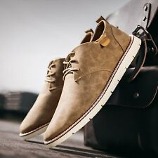 British Mens Simple Style Faux Leather Lace Up Comfy Solid Color Casual Shoes Sz