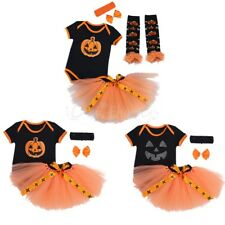 Newborn Baby Girls Halloween Holiday Pumpkin Romper Tutu Skirt Outfits Costumes