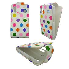 WHITE CASE MULTICOLOR POLKA DOT PULEATHER FLIP CASE FOR SAMSUNG GALAXY ACE S5830