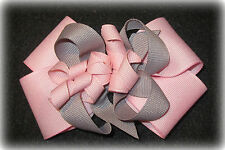 Pink Grey Korker Hair Bow or Headband Boutique Baby