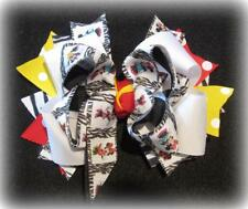 Zebra Minnie Mouse Boutique Hair Bow Layered Funky Hairbow 5 inch Vacation Film