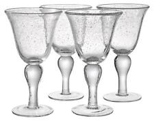 ARTLAND IRIS WINE GOBLET BUBBLE GLASSES HAND CRAFTED CLEAR - SET OF 4 - NEW