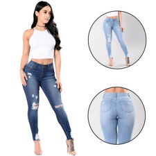 High Waisted Denim Pants Women's Pencil Jeans Stretch Skinny Fit Ripped Knee