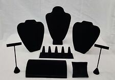Multiple Piece Combo Set Black White Burlap Necklace Bracelet Earring Ring Stand