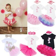 Baby Girls First Birthday Party Tutu Romper Dress Skirt Headband Cake Outfit Set