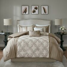 Chic Ogee Embroidered Taupe Silver Faux Silk Comforter 7 pcs Cal King Queen Set