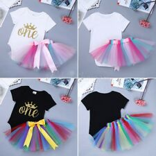 Baby Girl 1st First Birthday Dress Crown Rainbow Romper Ballet Tutu Skirt Outfit