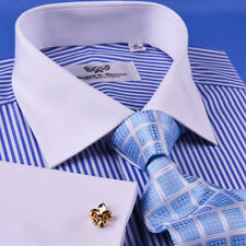 New Light Blue Striped Dress Shirt Luxury Men's White French Collar Business Top