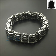 Vintage Silver Chinese Dragon Tribal Motorcycle Chain Bracelet Stainless Steel