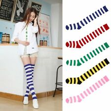 Sexy Women Girl Thigh High Striped Over the Knee Socks Cotton Stockings JK