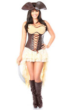 4 PC Pirate Captain Halloween Costume - Corset Lace Skirt Hat and Sword Set