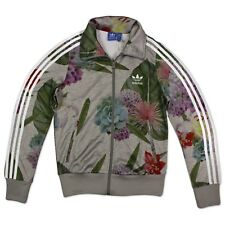 Adidas Firebird Flower Rose Track Top Jacket Ladies Training Jacket Grey ak0636