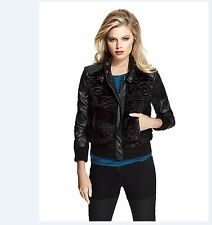 GUESS BY MARCIANO Reeve Faux Fur Leather Jacket  Moto Bomber BLACK Size M