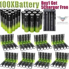 100Pcs 18650 3.7V Batteries Rechargeable Li-ion Battery+Charger For Flashlight
