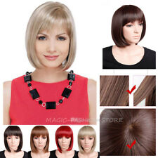 Ladies Bob Full Head Wig Short Straight With Bangs Cheap Cosplay Party Wigs bby6