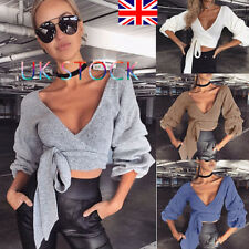 UK Ladies Deep V Neck Crop Tops Long Latern Sleeve Jumper Lace Up Belted Sweater