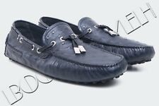 DIOR HOMME 3995$ Authentic New Marine Blue Ostrich Leather Moccassins