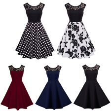 Women Vintage Lace Floral Short Swing Dress 50s Retro Rockabilly Pinup Housewife
