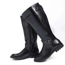 Men's Fashion PU Leather Knee High Boots Riding Military Boots Black Brown Zip