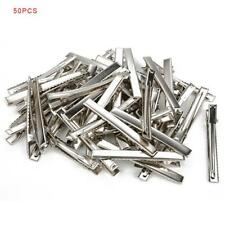 50 x Hair Clips Barrette Silver Crocodile Alligator Clips Findings For Bows WT