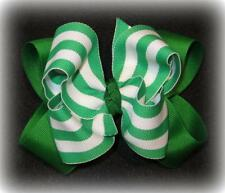 Emerald Green Stripes Boutique Hair Bow Double Layered Hairbow Big 5 6 inch Bows
