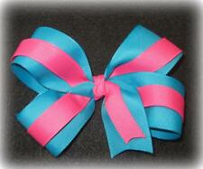 """Turquoise Pink Boutique Hair Bow 2 Tone Large 5"""" inch Girls Baby Toddler Hairbow"""