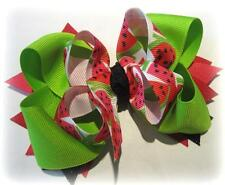 Lime Hairbow Watermelon Boutique Hair Bow girl baby stacked triple bow red fruit