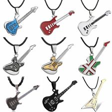 Men Cool Fashion Stainless Steel Guitar Pendant Leather Chain Necklace Jewellery